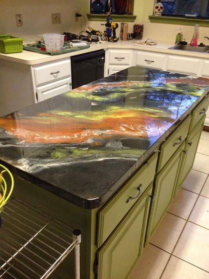 Epoxy Countertops Plywood Plank Floors And Mosaic Fireplace Diy Rocker Mom Rambles