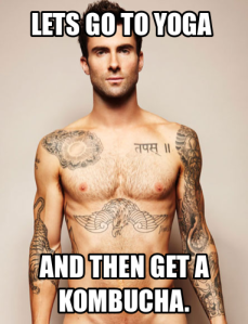 It's a meme with Adam Levine talking about yoga.    Yes, please.